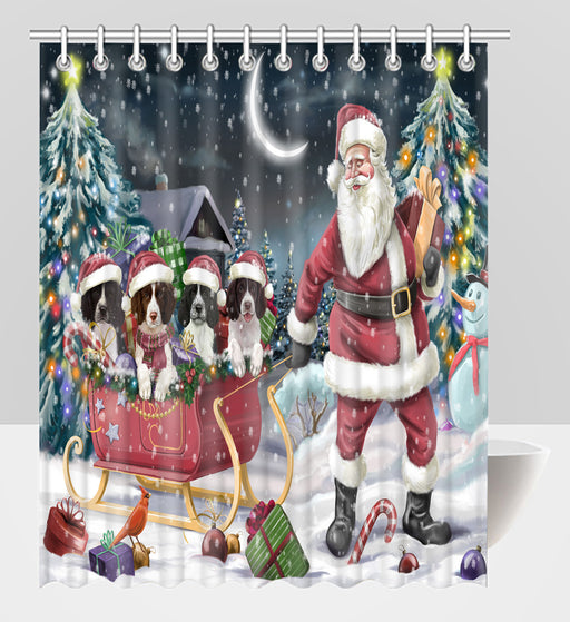Santa Sled Dogs Christmas Happy Holidays Springer Spaniel Dogs Shower Curtain