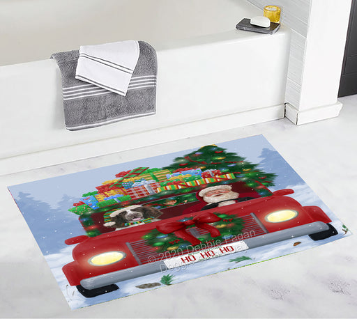 Christmas Honk Honk Red Truck Here Comes with Santa and Springer Spaniel Dog Bath Mat BRUG53875