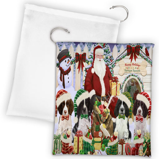 Happy Holidays Christmas Springer Spaniel Dogs House Gathering Drawstring Laundry or Gift Bag LGB48085