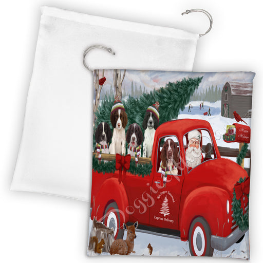 Christmas Santa Express Delivery Red Truck Springer Spaniel Dogs Drawstring Laundry or Gift Bag LGB48346