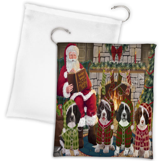 Christmas Cozy Holiday Fire Tails Springer Spaniel Dogs Drawstring Laundry or Gift Bag LGB48540
