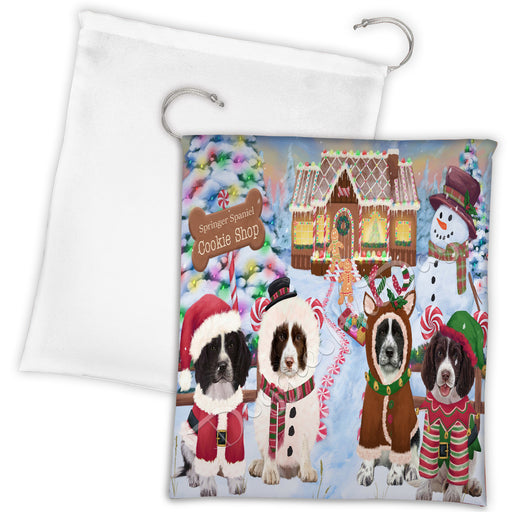 Holiday Gingerbread Cookie Springer Spaniel Dogs Shop Drawstring Laundry or Gift Bag LGB48640