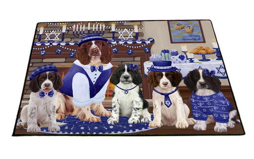 Happy Hanukkah Family Skye Terrier Dogs Floormat FLMS55561