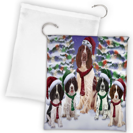 Springer Spaniel Dogs Christmas Family Portrait in Holiday Scenic Background Drawstring Laundry or Gift Bag LGB48181