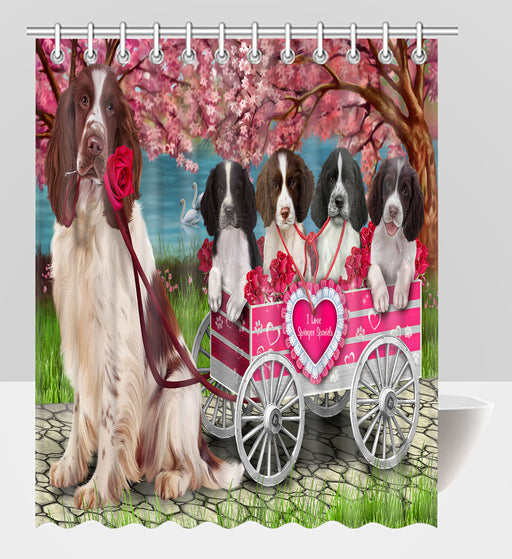 I Love Springer Spaniel Dogs in a Cart Shower Curtain