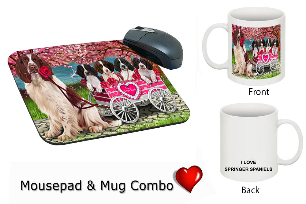 I Love Springer Spaniels Dog in a Cart Mug & Mousepad Combo Gift Set MPC49606