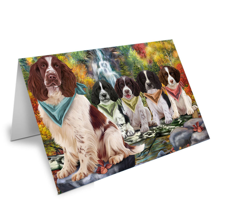 Scenic Waterfall Springer Spaniels Dog Note Card NCD68477
