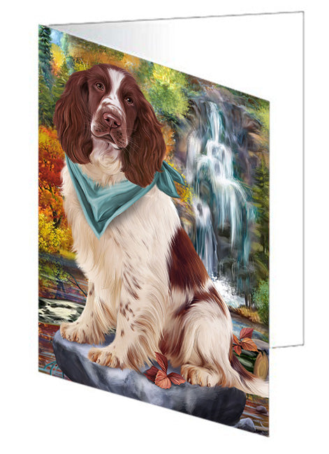 Scenic Waterfall Springer Spaniel Dog Note Card NCD68480