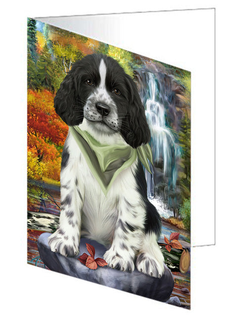Scenic Waterfall Springer Spaniel Dog Note Card NCD68483