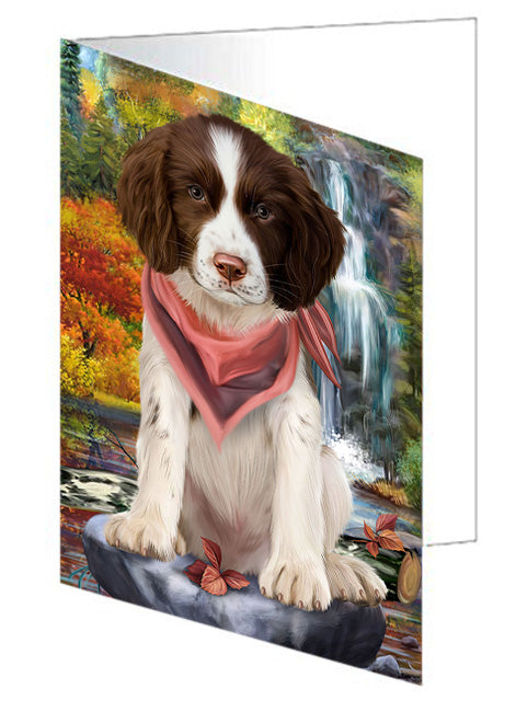 Scenic Waterfall Springer Spaniel Dog Note Card NCD68489