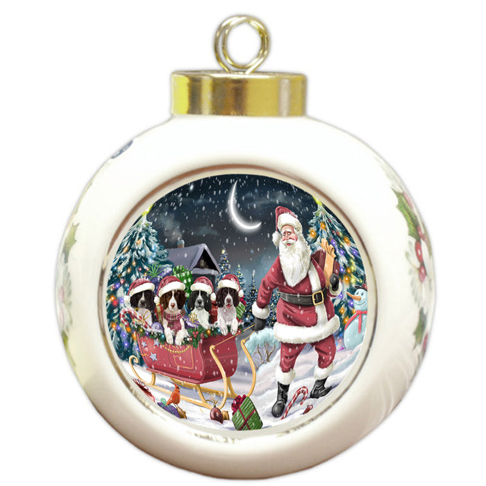 Santa Sled Christmas Happy Holidays Springer Spaniels Dog Round Ball Christmas Ornament RBPOR54381