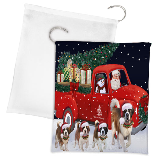 Christmas Express Delivery Red Truck Running Saint Bernard Dogs Drawstring Laundry or Gift Bag LGB48934