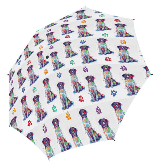 Watercolor Mini Stabyhoun DogsSemi-Automatic Foldable Umbrella