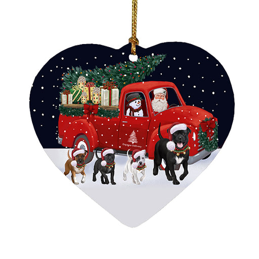 Christmas Express Delivery Red Truck Running Staffordshire Bull Terrier Dogs Heart Christmas Ornament RFPOR58125