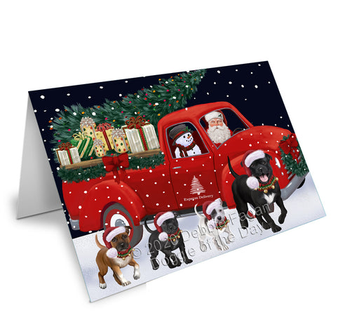 Christmas Express Delivery Red Truck Running Staffordshire Bull Terrier Dogs Greeting Card GCD75239