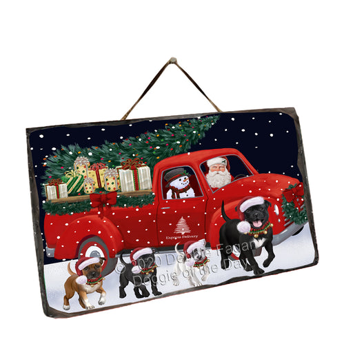 Christmas Express Delivery Red Truck Running Staffordshire Bull Terrier Dogs Wall Décor Hanging Photo Slate SLTH58193