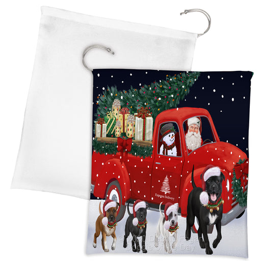 Christmas Express Delivery Red Truck Running Staffordshire Bull Terrier Dogs Drawstring Laundry or Gift Bag LGB48935