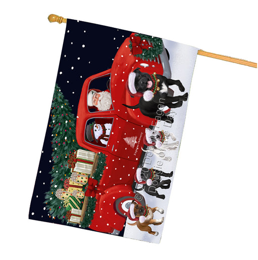 Christmas Express Delivery Red Truck Running Staffordshire Bull Terrier Dogs House Flag FLG66555