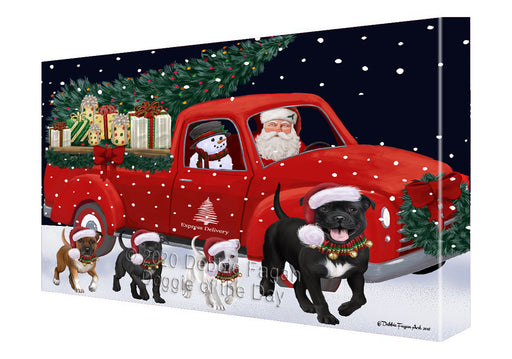 Christmas Express Delivery Red Truck Running Staffordshire Bull Terrier Dogs Canvas Print Wall Art Décor CVS146393