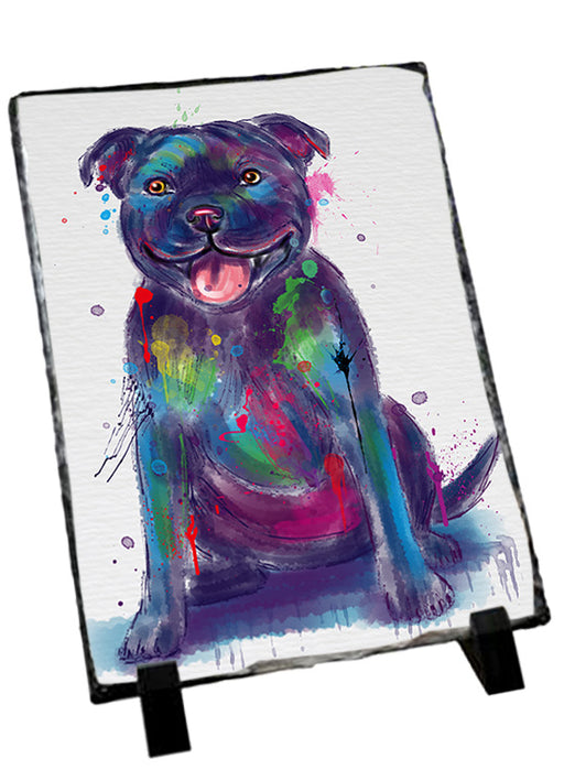 Watercolor Staffordshire Bull Terrier Dog Sitting Photo Slate SLT57479