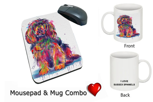 Watercolor Sussex Spaniel Dog Mug & Mousepad Combo Gift Set MPC52962