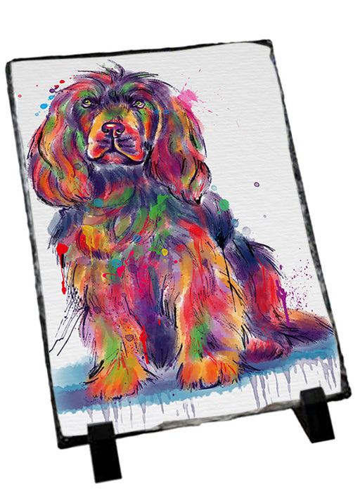 Watercolor Sussex Spaniel Dog Sitting Photo Slate SLT57480
