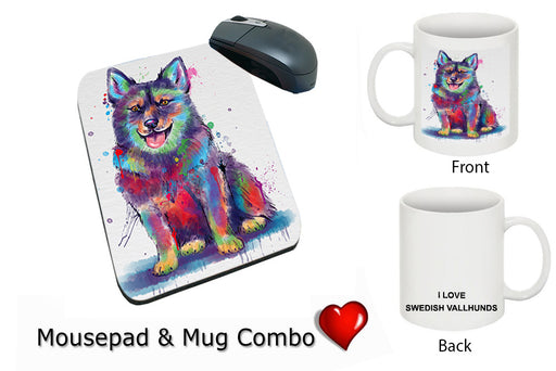 Watercolor Swedish Vallhund Dog Mug & Mousepad Combo Gift Set MPC52963