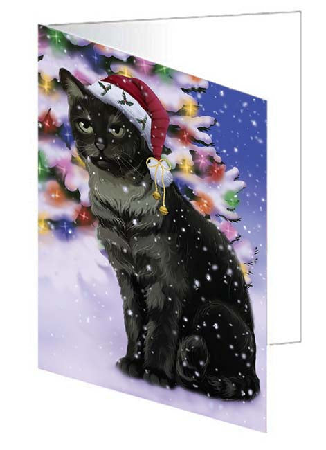 Winterland Wonderland Tabby Cat In Christmas Holiday Scenic Background Note Card NCD71717