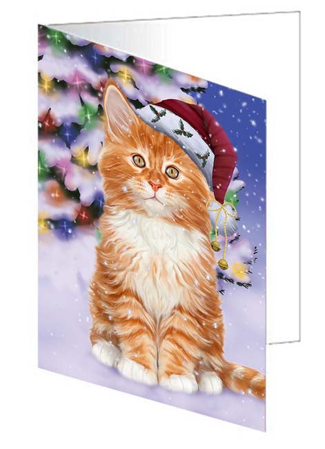 Winterland Wonderland Tabby Cat In Christmas Holiday Scenic Background Greeting Card GCD71720