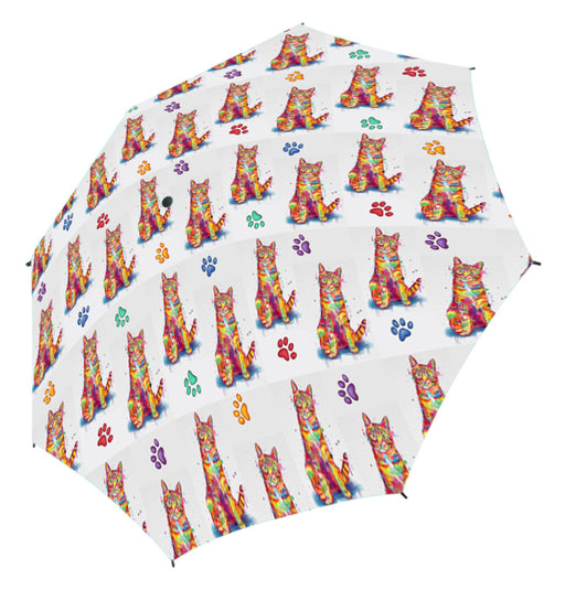 Watercolor Mini Tabby Orange CatsSemi-Automatic Foldable Umbrella