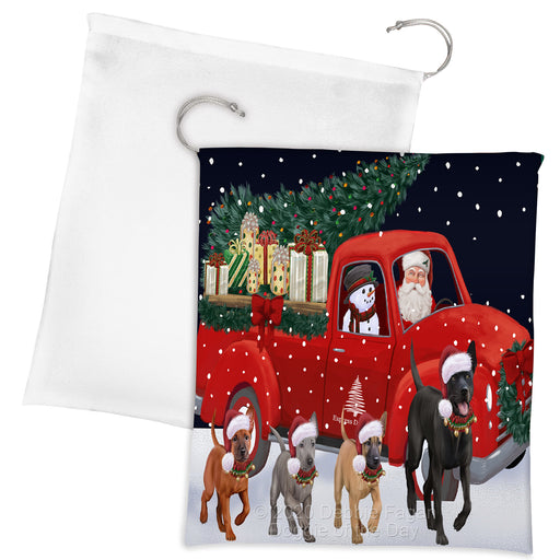 Christmas Express Delivery Red Truck Running Thai Ridgeback Dogs Drawstring Laundry or Gift Bag LGB48936