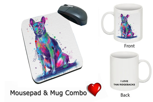 Watercolor Thai Ridgeback Dog Mug & Mousepad Combo Gift Set MPC52964