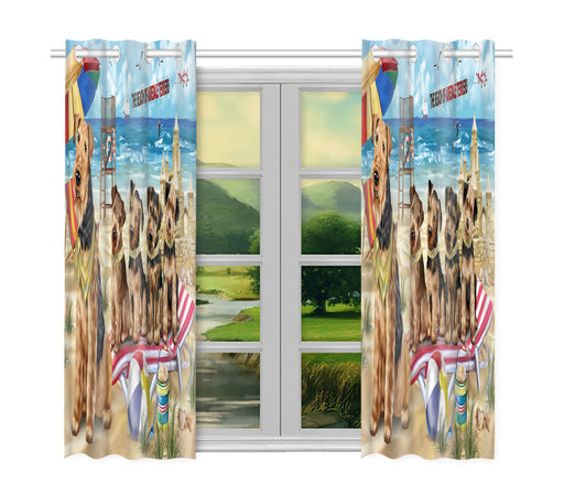 Pet Friendly Beach Airedale Terrier Dogs Window Curtain