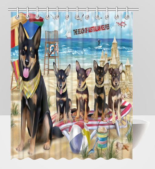 Pet Friendly Beach Australian Kelpie Dogs Shower Curtain