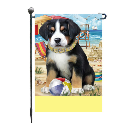 Personalized Pet Friendly Beach Greater Swiss Mountain Dog Custom Garden Flags GFLG-DOTD-A58331