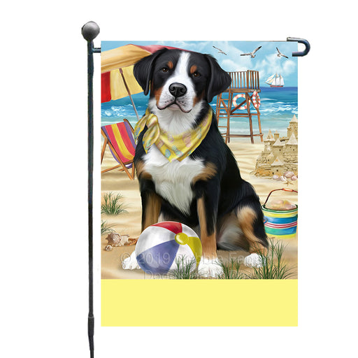 Personalized Pet Friendly Beach Greater Swiss Mountain Dog Custom Garden Flags GFLG-DOTD-A58332