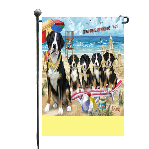 Personalized Pet Friendly Beach Greater Swiss Mountain Dogs Custom Garden Flags GFLG-DOTD-A58330
