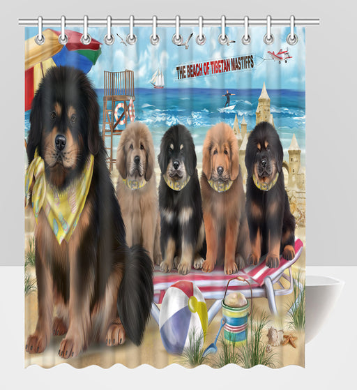 Pet Friendly Beach Tibetan Mastiff Dogs Shower Curtain