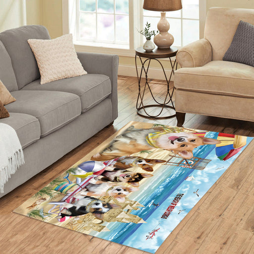 Pet Friendly Beach Welsh Corgi Dogs Area Rug