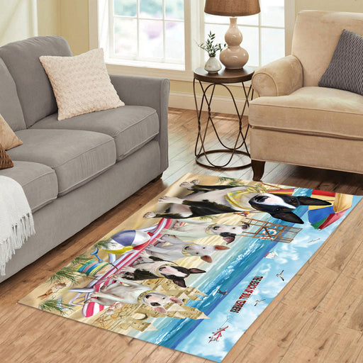 Pet Friendly Beach Bull Terrier Dogs Area Rug