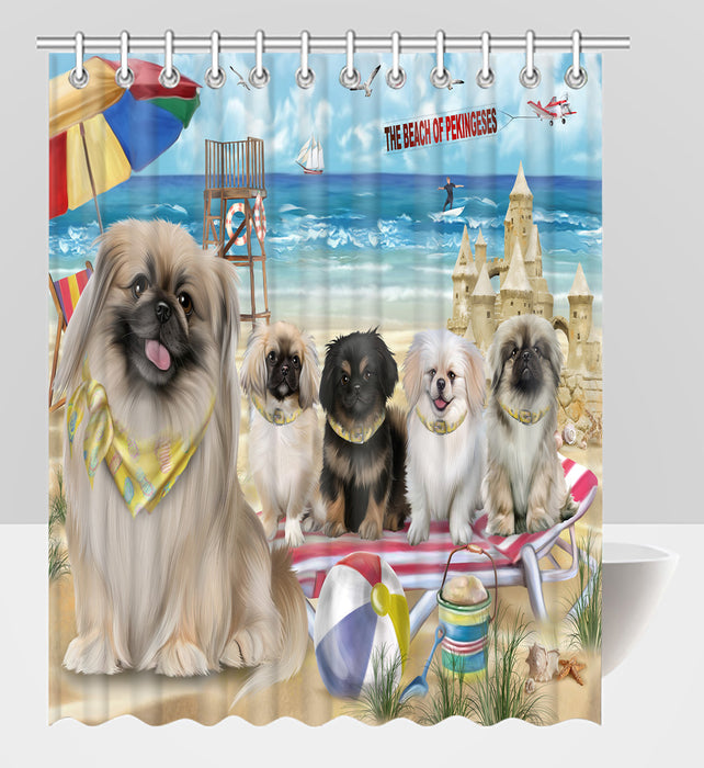 Pet Friendly Beach Pekingese Dogs Shower Curtain