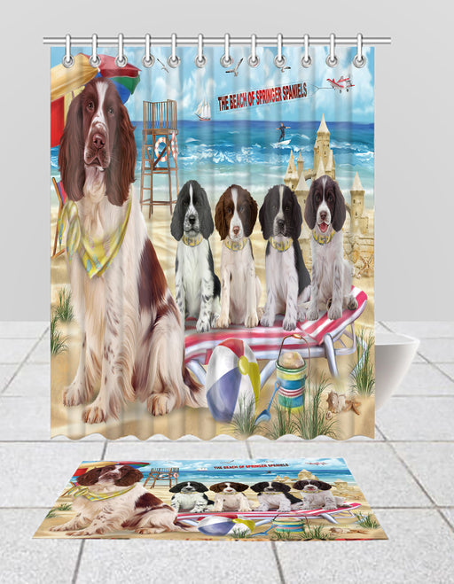 Pet Friendly Beach Springer Spaniel Dogs Bath Mat and Shower Curtain Combo