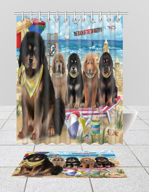 Pet Friendly Beach Tibetan Mastiff Dogs Bath Mat and Shower Curtain Combo