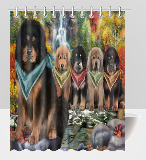 Scenic Waterfall Tibetan Mastiff Dogs Shower Curtain