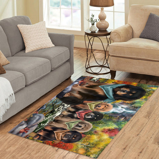 Scenic Waterfall Tibetan Mastiff Dogs Area Rug