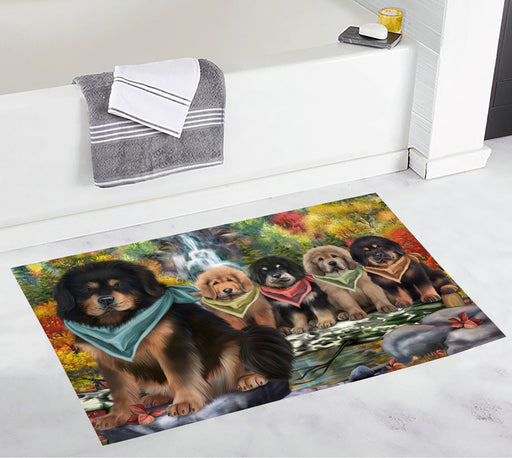 Scenic Waterfall Tibetan Mastiff Dogs Bath Mat