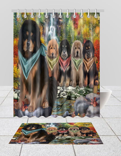Scenic Waterfall Tibetan Mastiff Dogs Bath Mat and Shower Curtain Combo