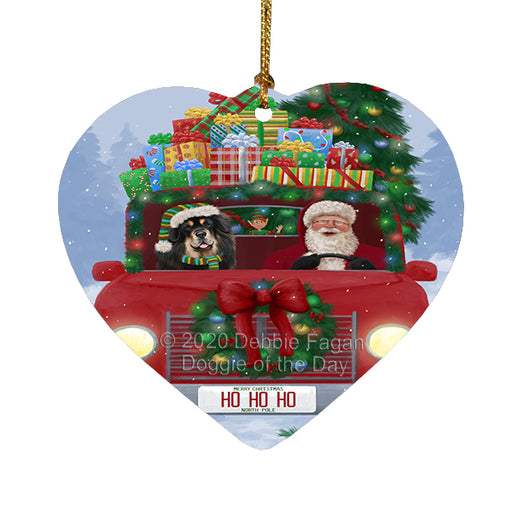 Christmas Honk Honk Red Truck Here Comes with Santa and Tibetan Mastiff Dog Heart Christmas Ornament RFPOR58217
