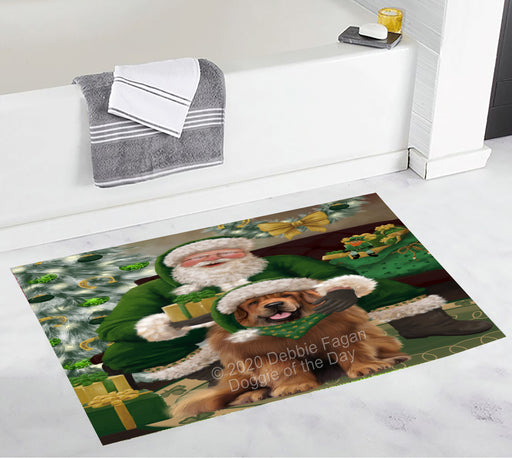 Christmas Irish Santa with Gift and Tibetan Mastiff Dog Bath Mat BRUG54178