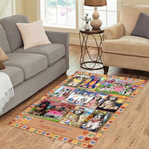 Love is Being Owned Tibetan Mastiff Dog Beige Area Rug